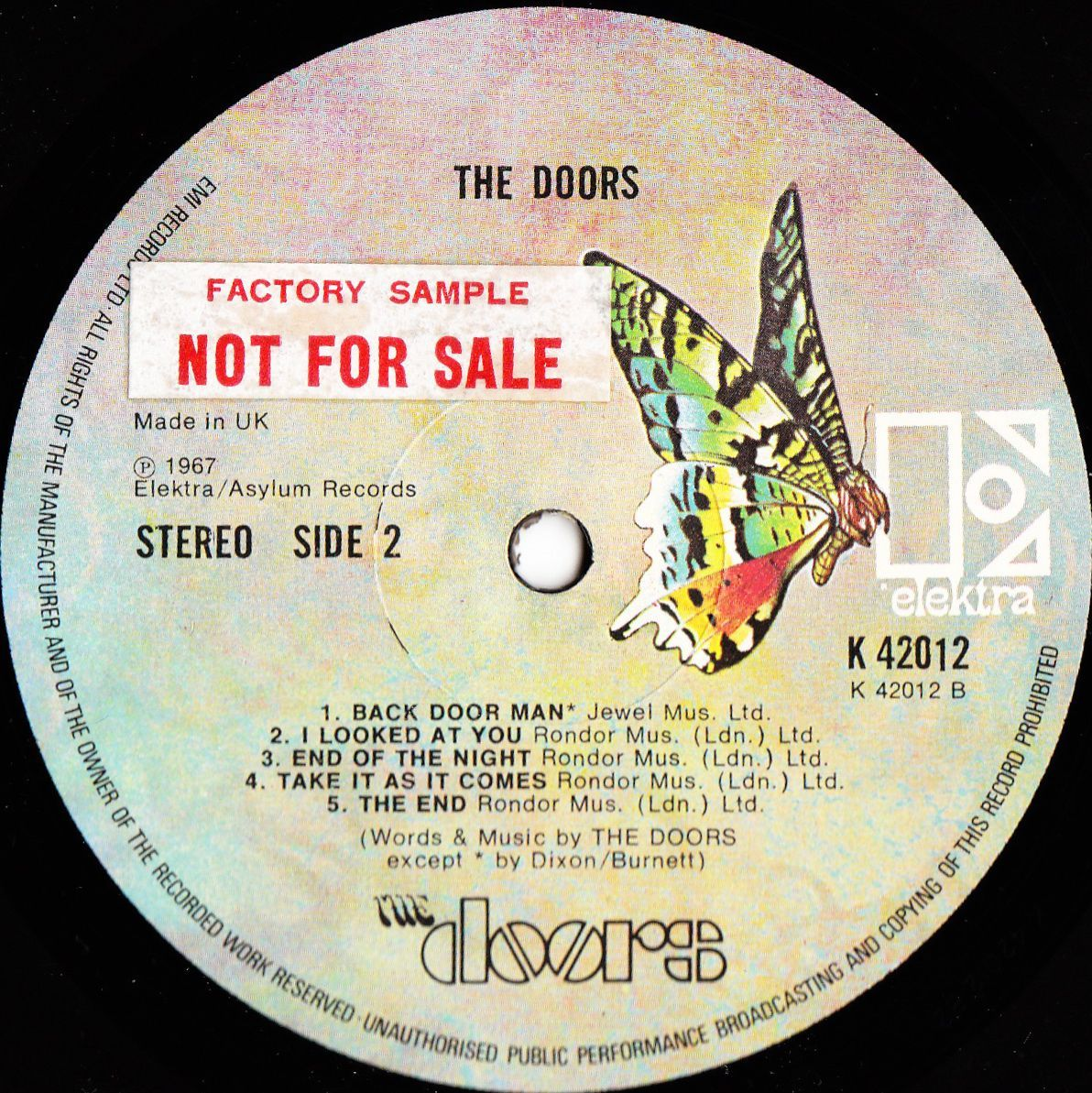 The Doors 1967 \u201cThe Doors\u201d Vinyl Label from United Kingdom Factory S&le NOT FOR