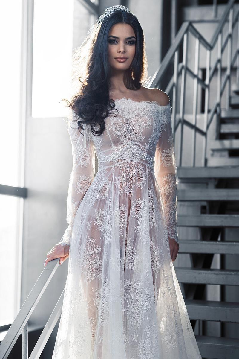 Barato 2015 Lace mangas compridas vestidos de noiva árabes Bateau a line andar de comprimento vestidos de noiva transparentes Sexy vestidos de noiva, Compro Qualidade Vestidos de noiva diretamente de fornecedores da China:                    Bem-vindo à nossa loja                                Este vestido pode ser feitos