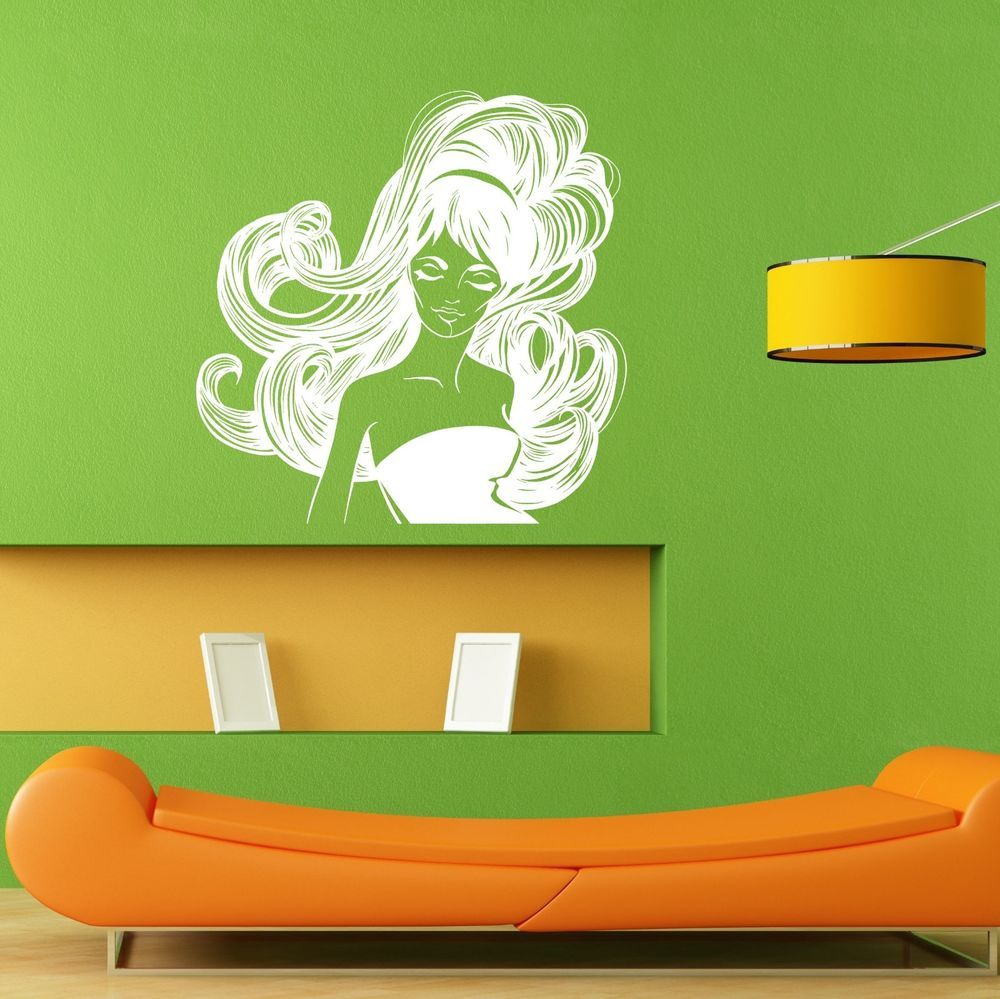 Girl Woman Unique Fabulous Hair Style Salon Wall Decal Sticker Mural Decal L039 #3M
