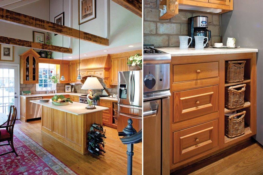 Natural wooden cabinets with a heavy grain and elegant, clean lines create a traditional yet informal look.