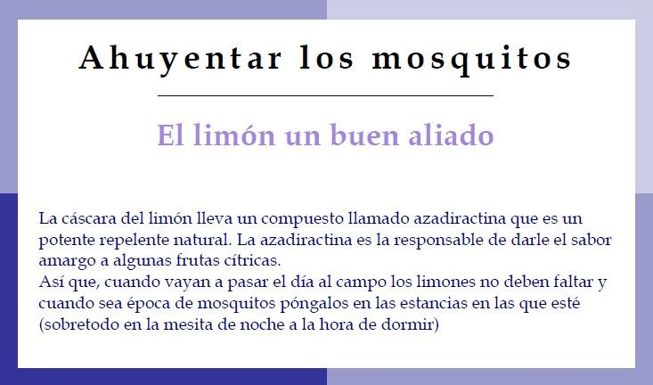Para mi de los mejores trucos sobretodo en estas fechas - Como ahuyentar los mosquitos ...
