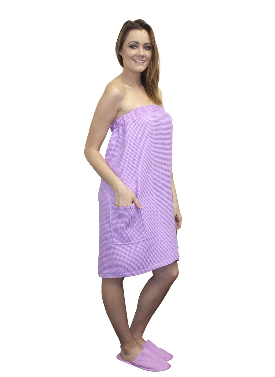 edb2407b46 Purple Terry Bath Wrap Towels with Pocket. Looks very fashion with our  Purple Spa Slippers.