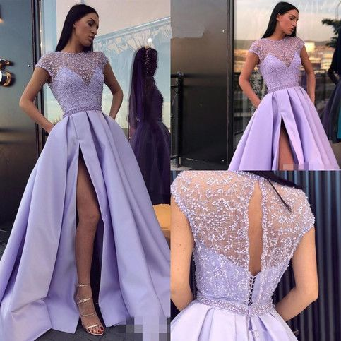 Lilac Long Satin Prom Dresses,Sexy Side Slit Beaded See Through Evening Dresses,Elegant Cap Sleeve Prom Dress.617