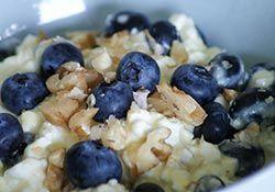 1 portion af Budwig blandingen består af: 1 spsk. økologisk hørfrøolie og 2 spsk. økologisk Skyr, Acido eller hytteost. Den piskes med håndpisker indtil den har konsistens næsten som flødeskum.   På billedet ses blandingen med blåbær og hasselnødder