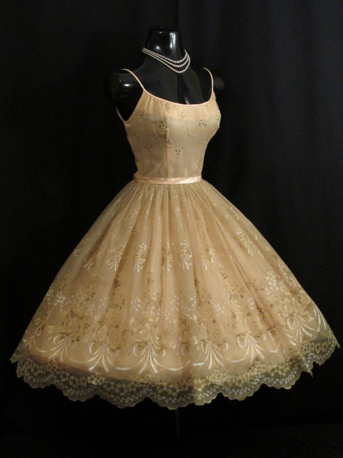 Vintage us s champagne chiffon organza floral flocked party