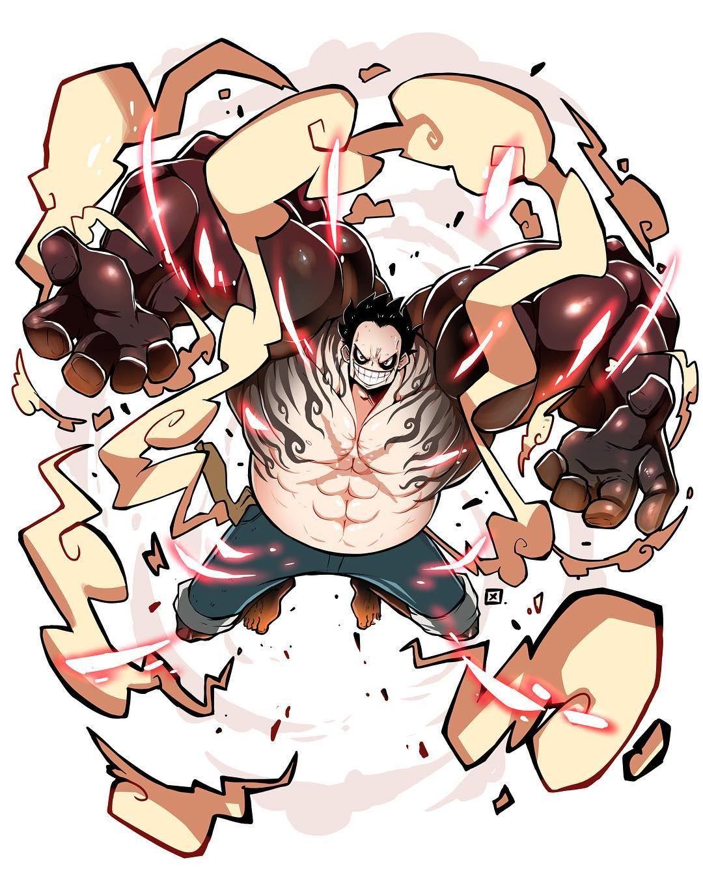 Luffy in the 2nd set of eyecatchers. Luffy Gear 4 This Gear Is The Most Badass For Now Luffygear4 Gear4 Onepiece Kenron Fanart Digitalart Luffy Gear 4 One Piece Manga Anime