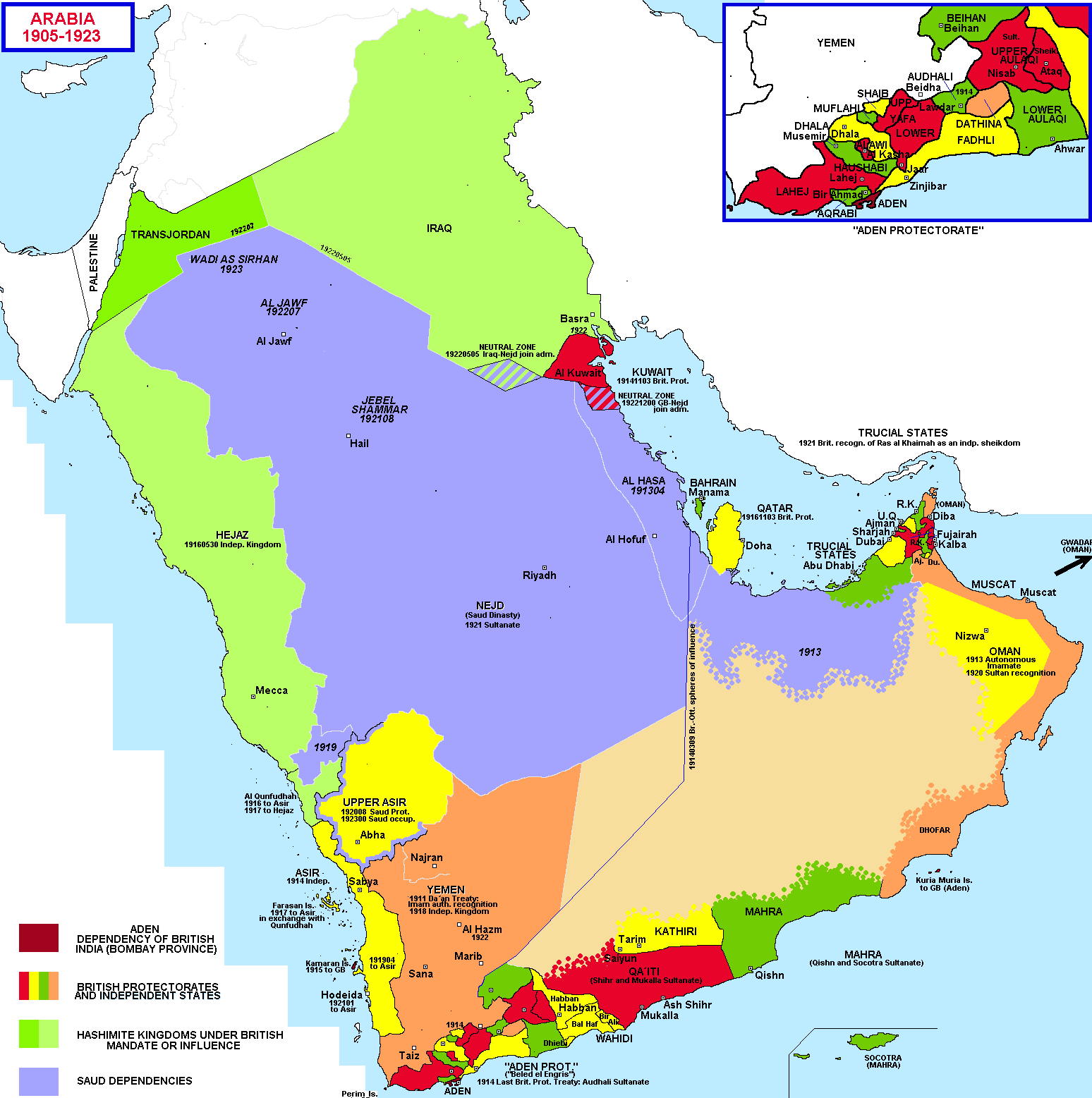 Political map of the arabian peninsula 1905 1923 modern middle political map of the arabian peninsula 1905 1923 gumiabroncs Images
