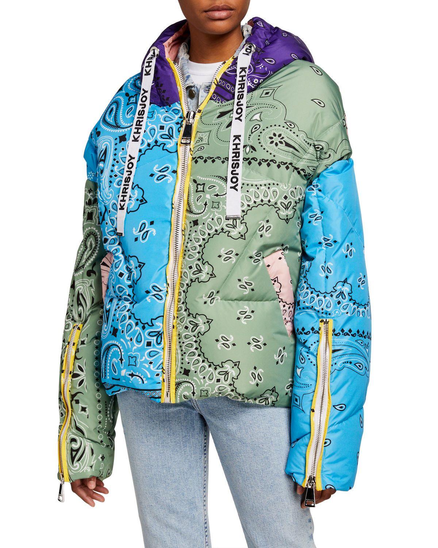 Khrisjoy Bandana Khris Puffer Jacket In Light Blue Green Pink Modesens