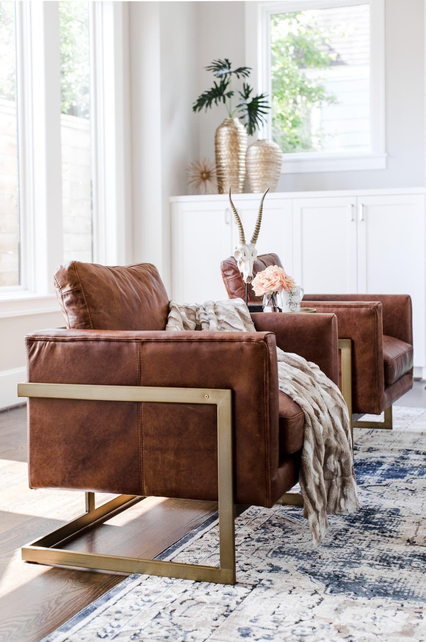 Best Edloe Finch London Cognac Leather Accent Chair Reviews 400 x 300