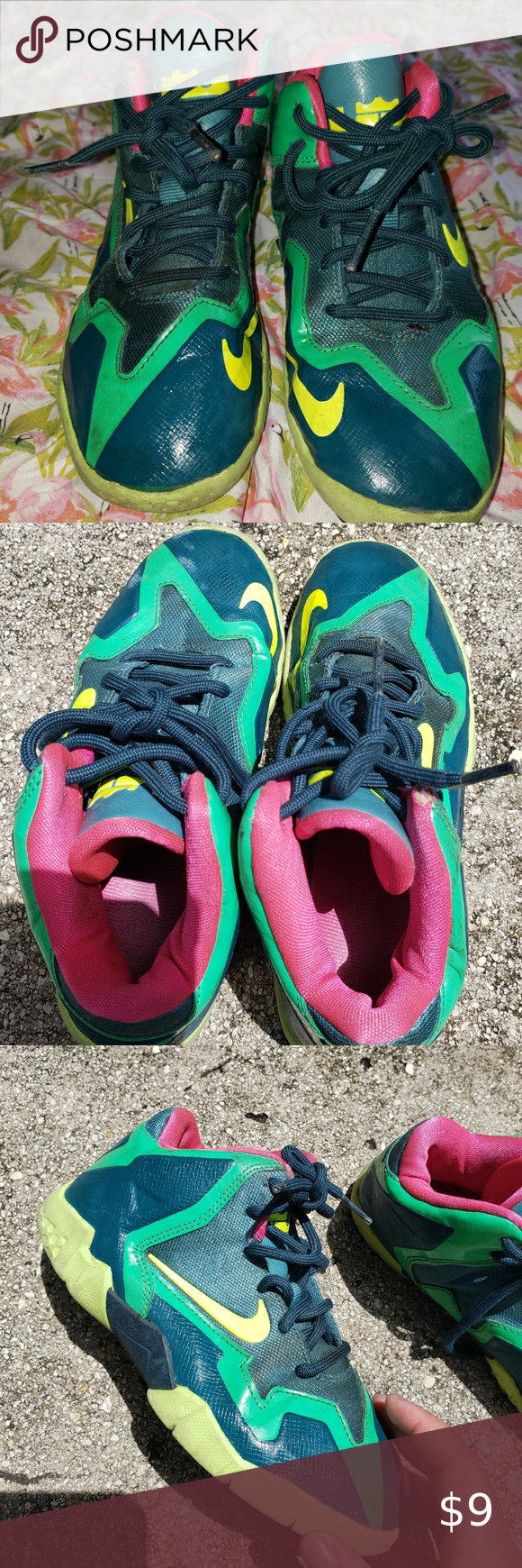 Nike Size 13c Green and pink Sneakers