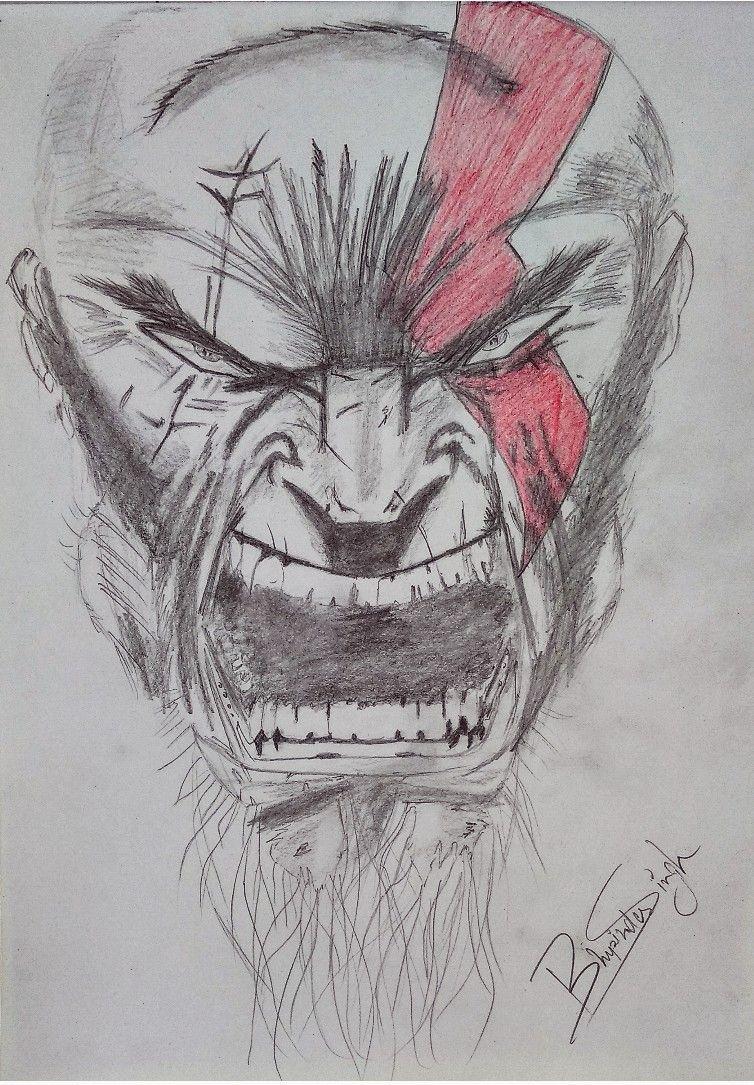 Art kratos god of war pencil art pencil drawing pencil sketch how to draw pencil artwork pencil sketches