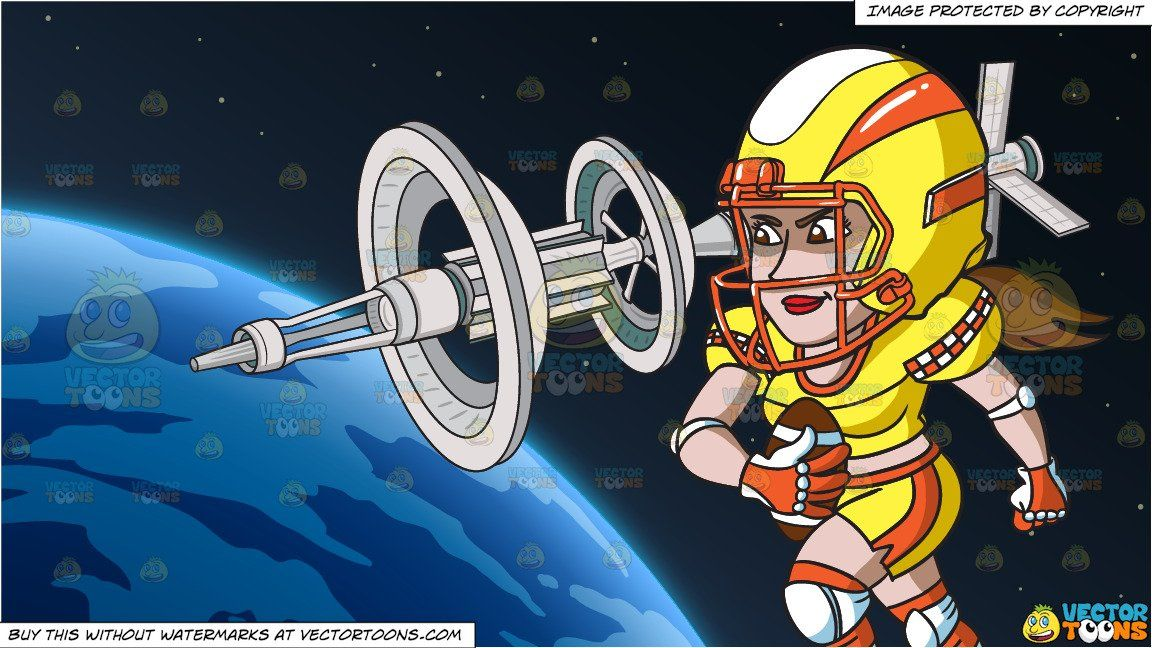 A female football player charging ahead and orbiting space
