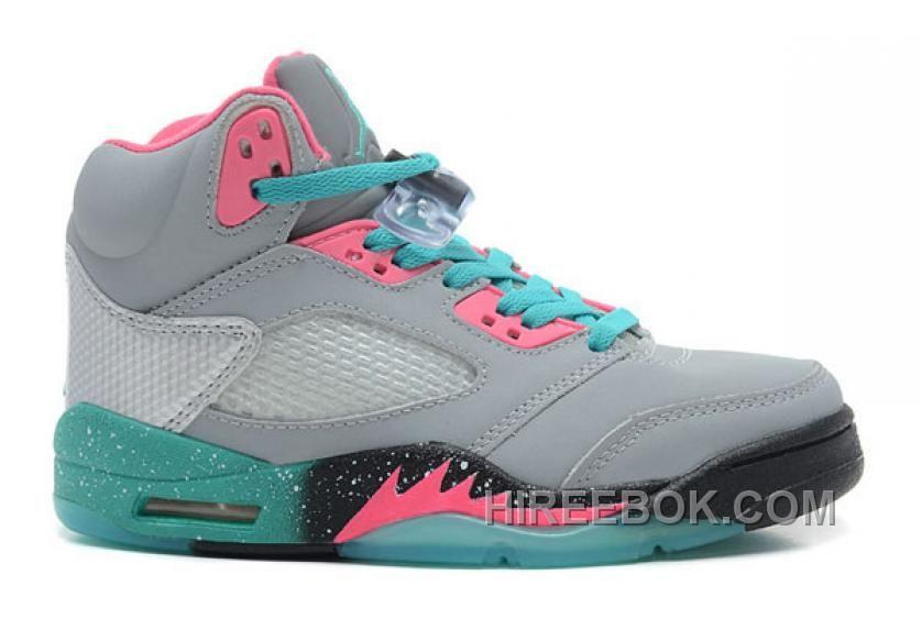 Big Discount 66 OFF Girls Air Jordan 5 GS Miami Vice GreyTealPink For Sale