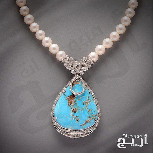 عقد الماس فاخر مع حجر الفيروز النيشابوري الطبيعي Jewelry Turquoise Necklace Turquoise