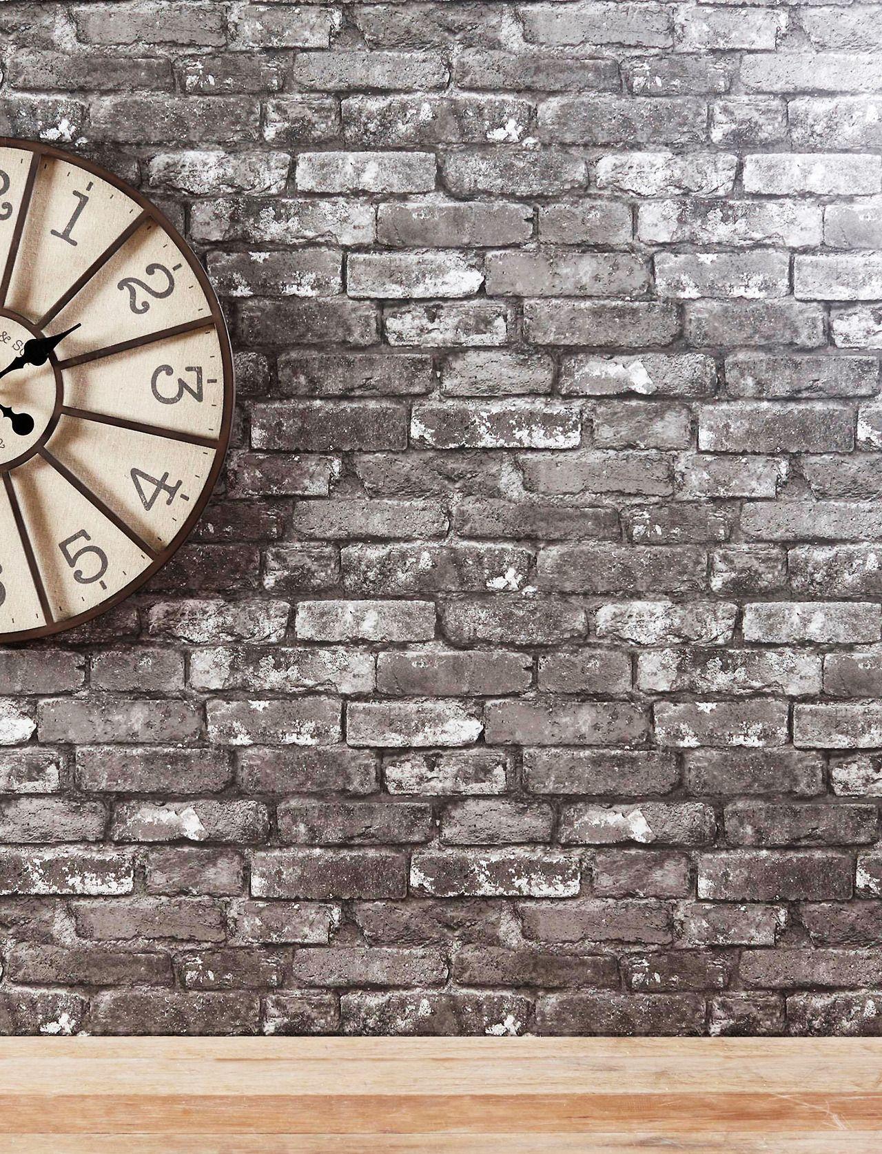 Grey brick wallpaper from Next | Shades of Grey | Brick wallpaper living room, Brick wallpaper ...
