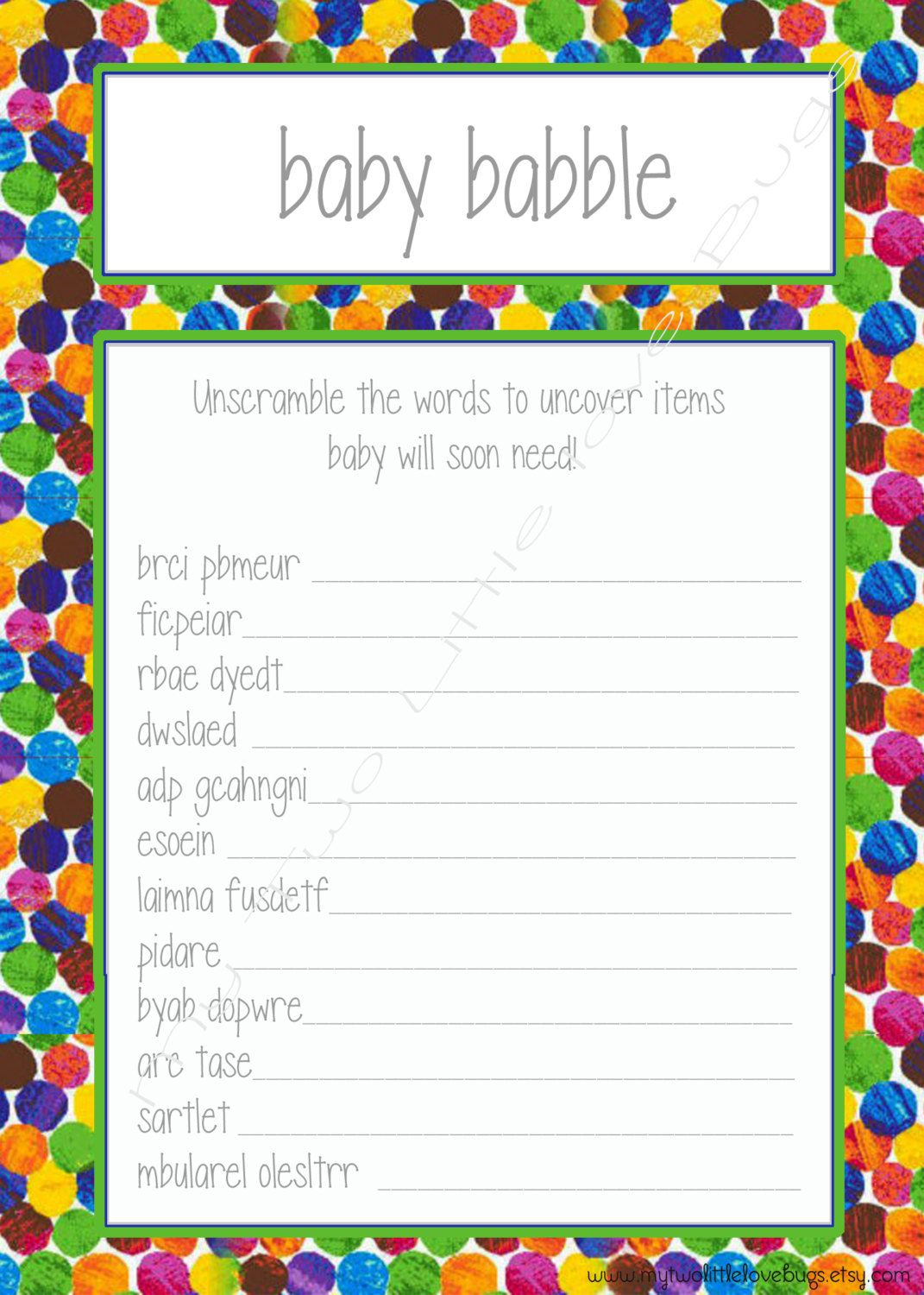 Baby Babble Word Scramble