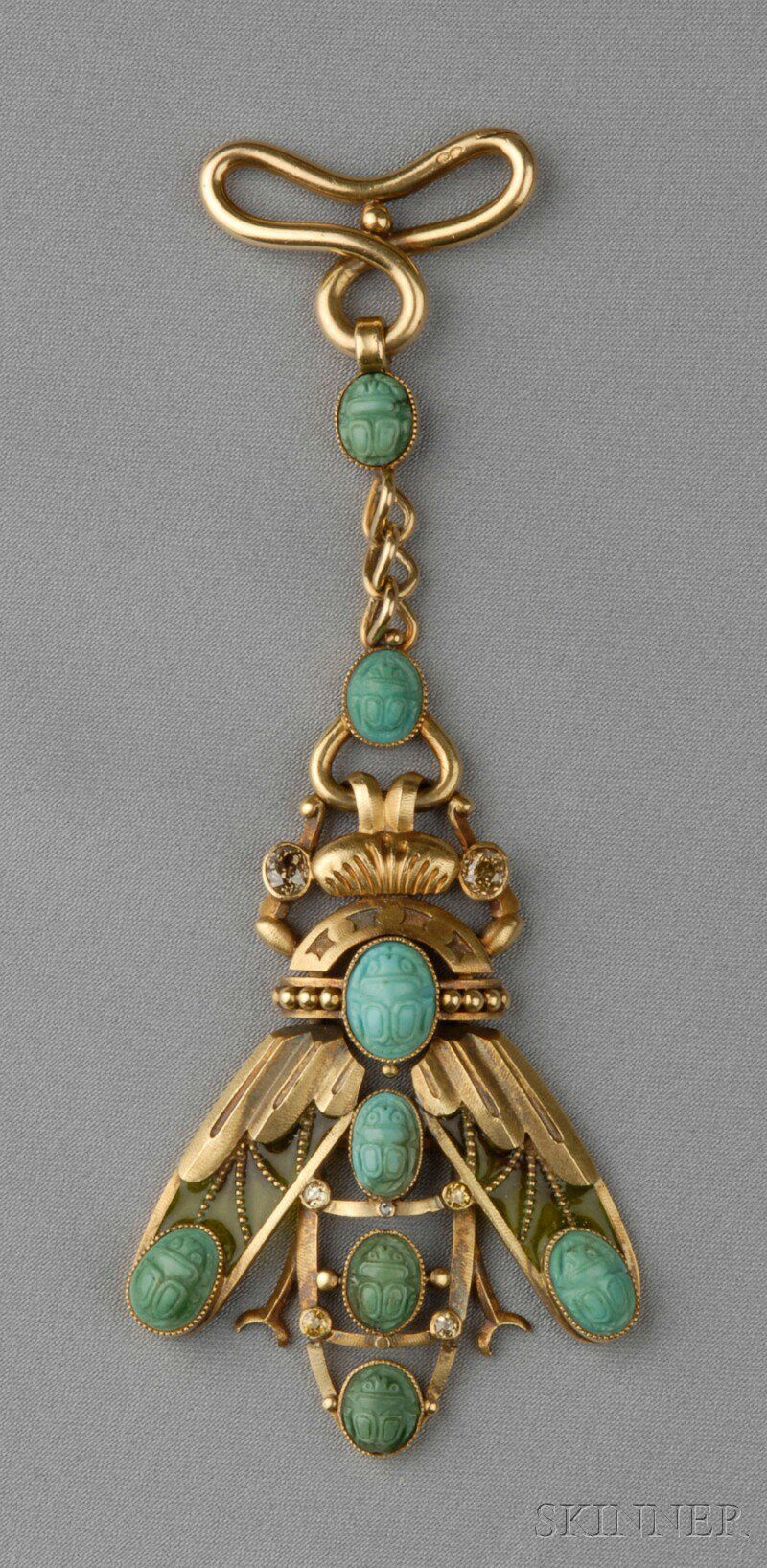 Art Nouveau 18kt Gold, Plique-a-jour Enamel, Turquoise, and Colored Diamond Fob, designed as a scarab with plique-a-jour enamel wings and carved turquoise scarabs, old European and old single-cut diamond accents, lg. 4 1/4 in., French import stamps.  (hva)
