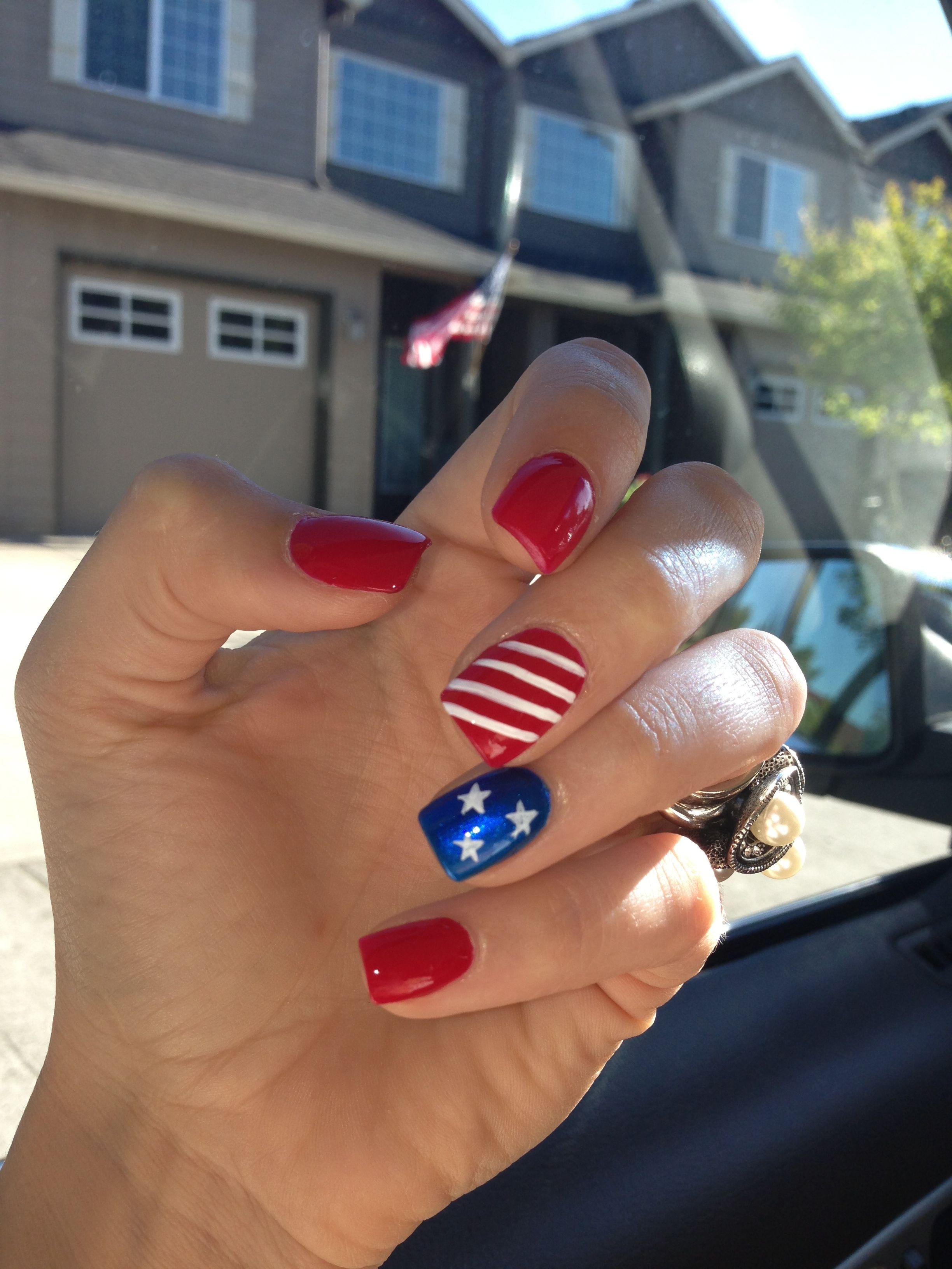 simple 4th of July nail idea | Blue nails, Nail nail and Makeup