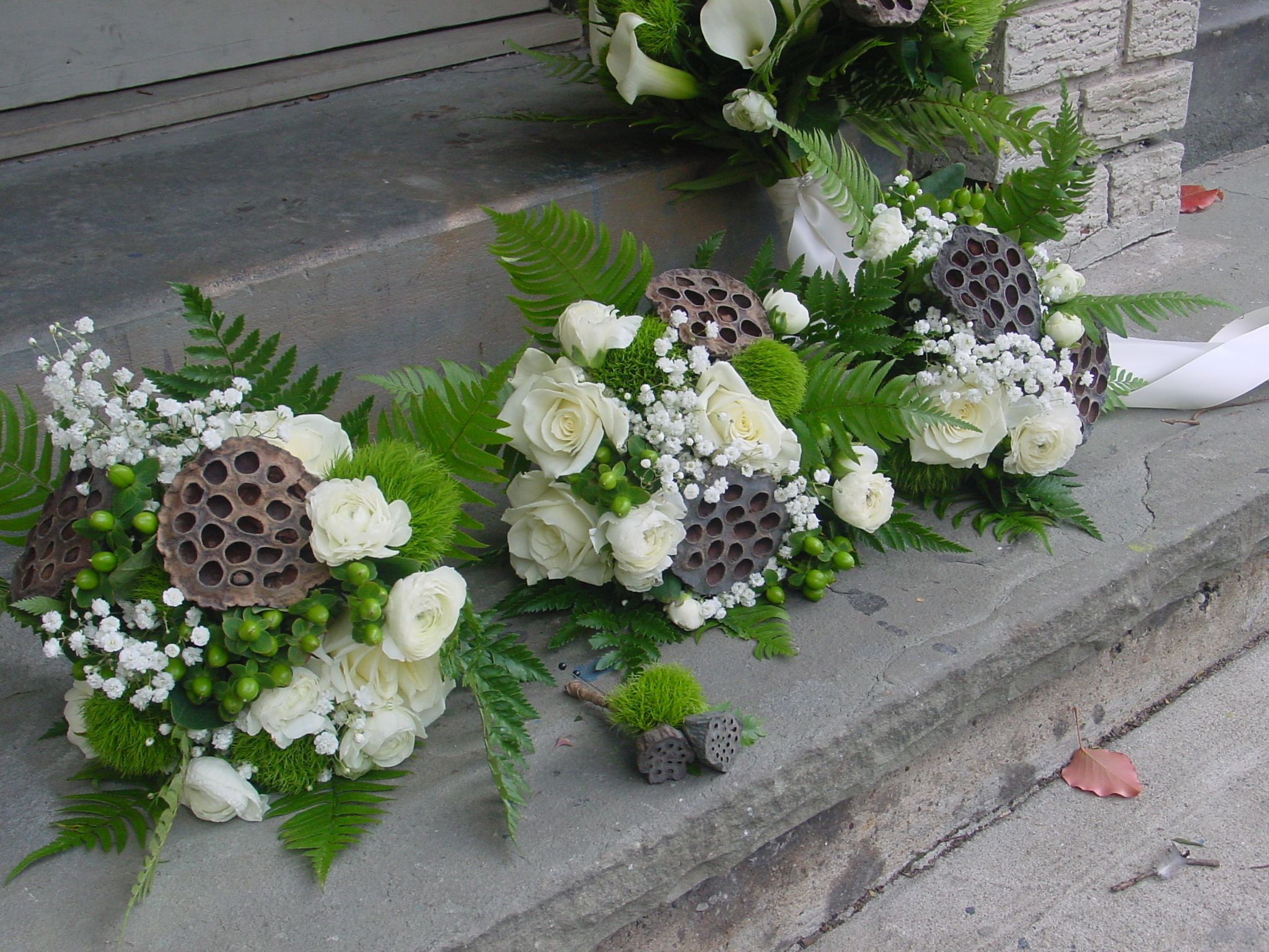 Lotus pod bouquet wedding original weddings pinterest green and white bouquets with ferns sweet william babys breath and brown lotus pods dhlflorist Images