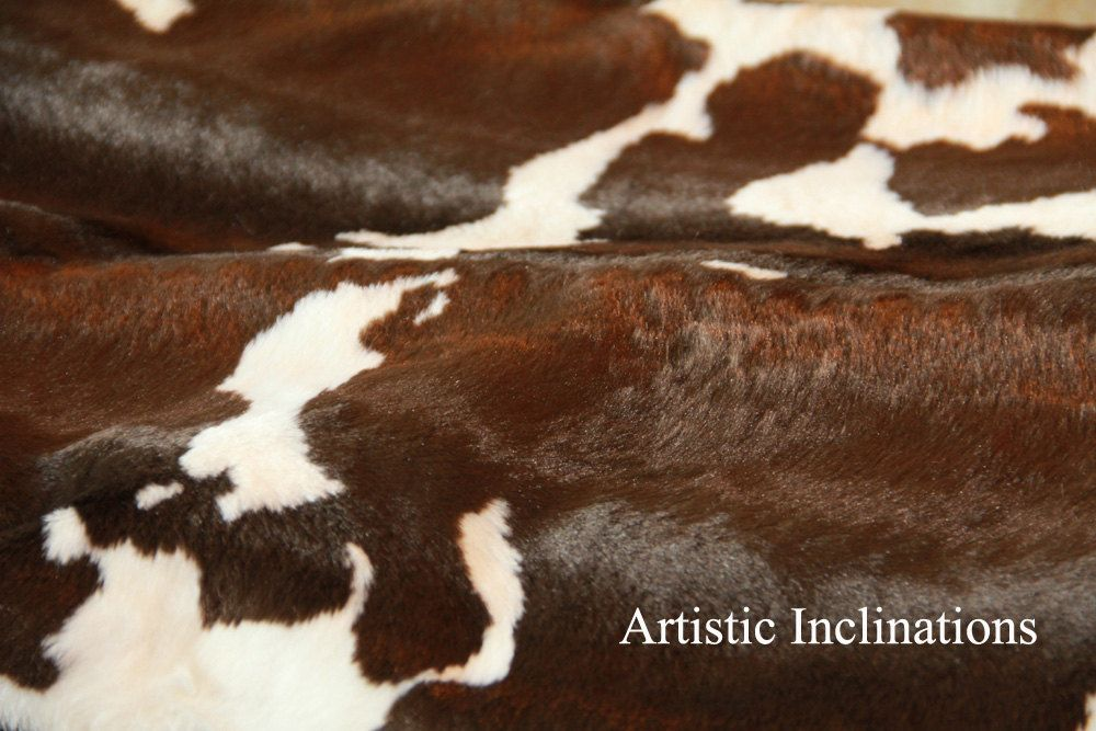 1 Yard Of Faux Cow Hide Fabric In Brown And White Great For Etsy Cowhide Fabric Faux Cowhide Cow Print Fabric