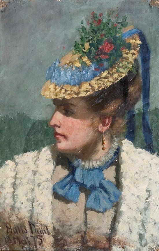 Hans Dahl (1849–1937): Kvinne med stråhatt, 1875