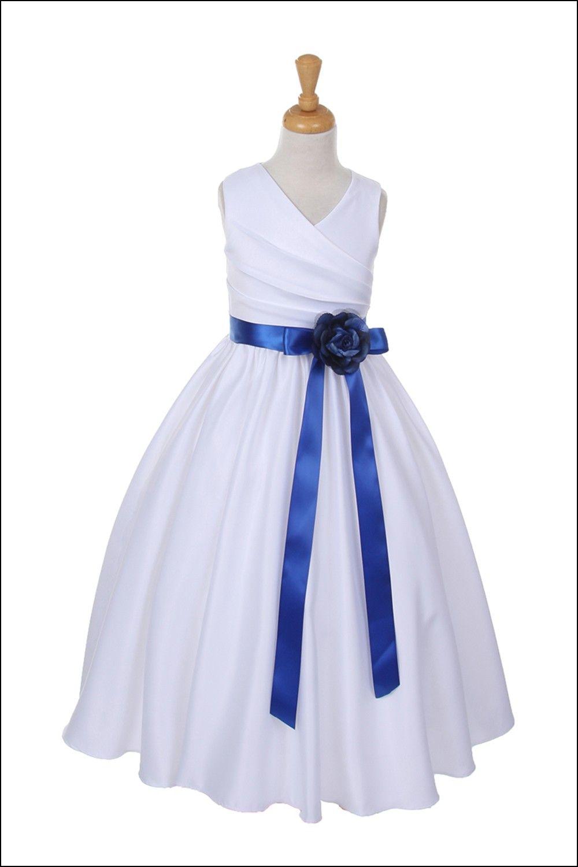 Flower girl dresses with royal blue sash wedding pinterest
