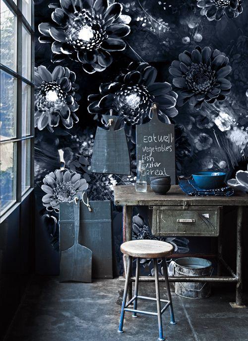 Ellie Cashman Moonlight Meadow Designer Wallpaper In Blue Ink