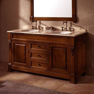 Brookfield 60 Inch Traditional Double Sink Bathroom Vanity  Warm New Cherry Bathroom Vanity Inspiration Design