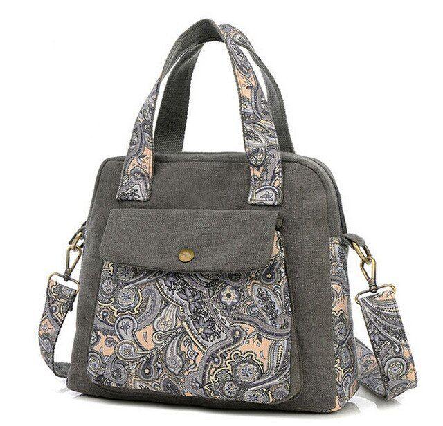 Women Canvas Floral Messenger Cross Body Handbag Shoulder Bag Tote Purse Large