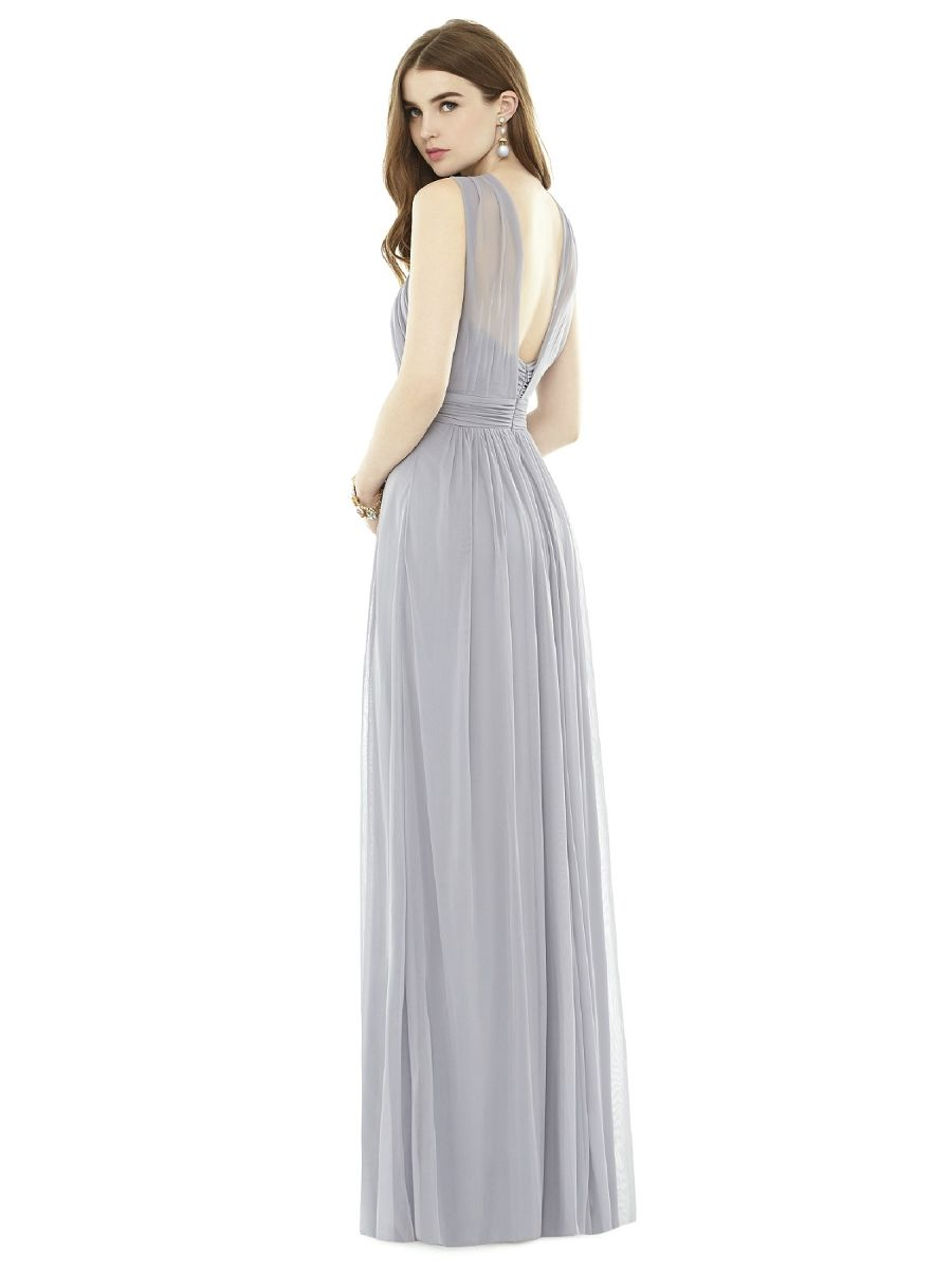 Alfred sung bridesmaid dressesalfred sung dresses d 720the dessy full length bridesmaid dress in chiffon knit has twist halter detail shirred midriff and low v back slit at center front of shirred skirt ombrellifo Gallery