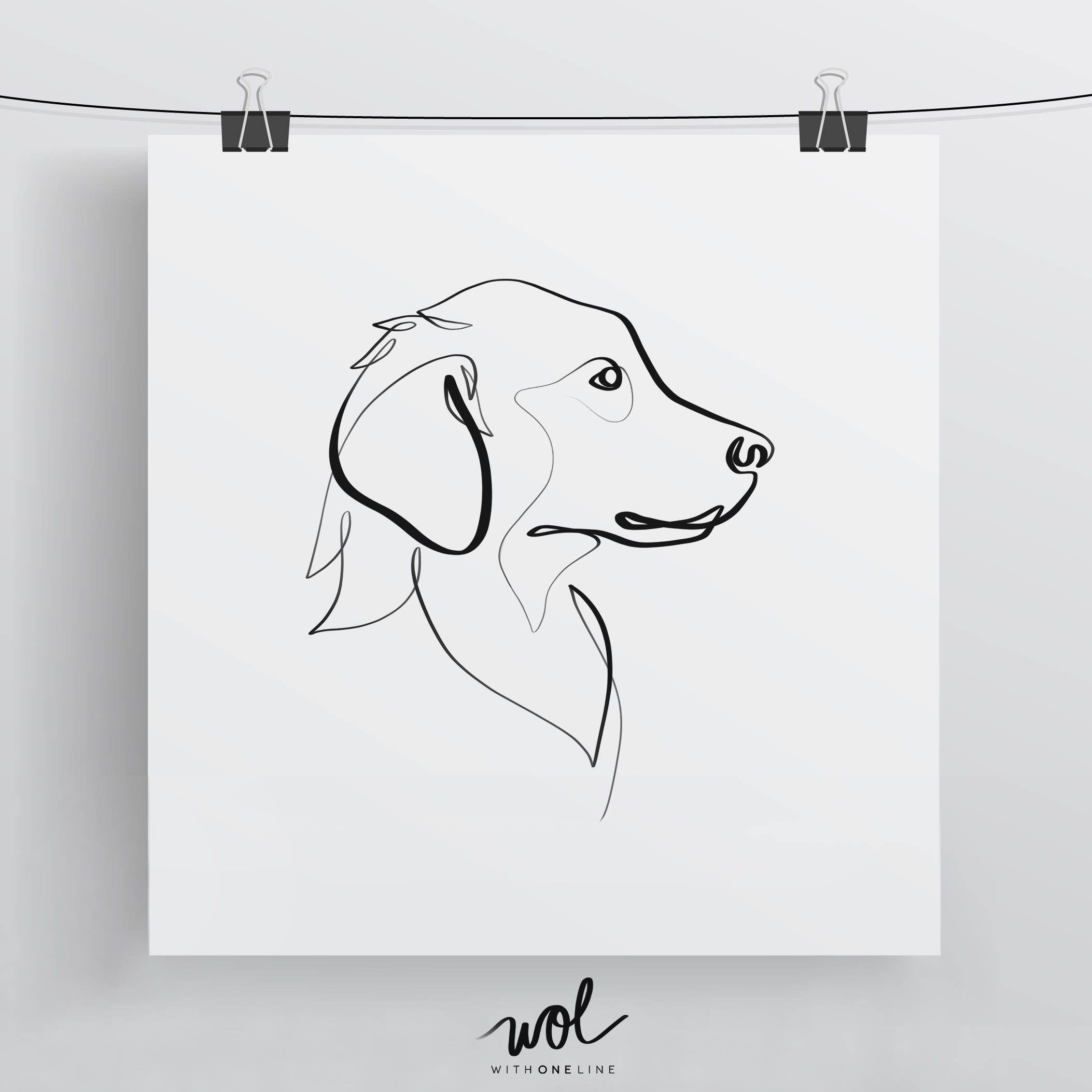 Animal Drawings Dog Line Drawing Golden Retriever Art Golden