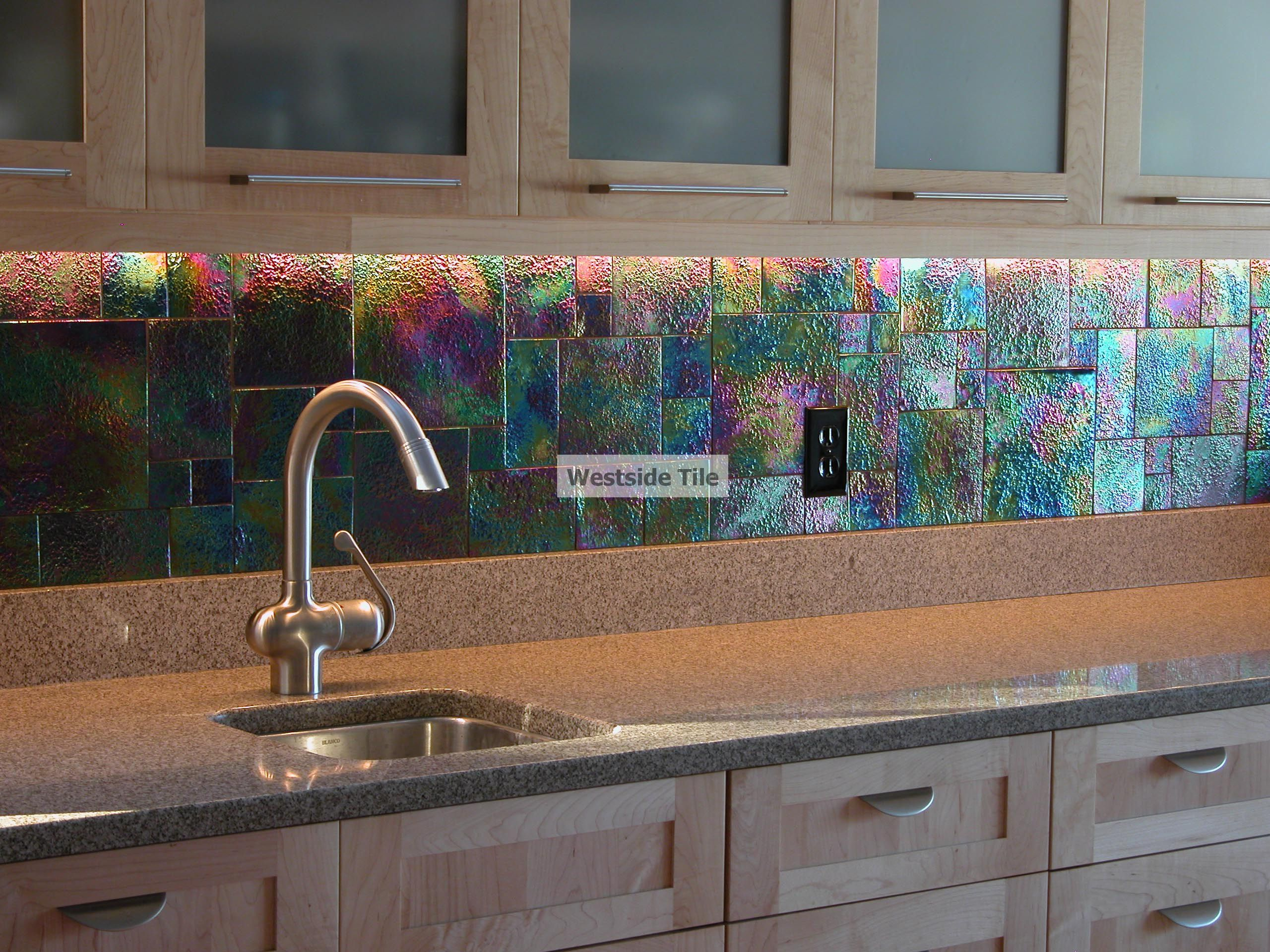 Oceanside glass tile raku iridescent kitchen backsplash for Glass tile kitchen backsplash ideas