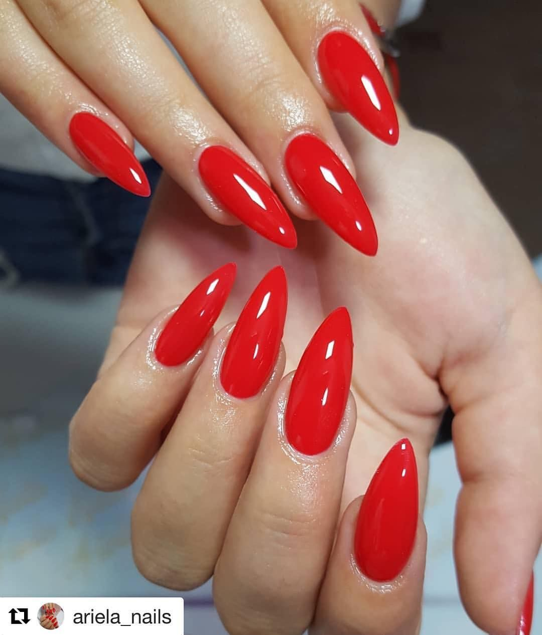 Rednails Stilettonails Firenails Nailsart Lovethiscolor Pointy Acrylic Nails Red Stiletto Nails Red Acrylic Nails