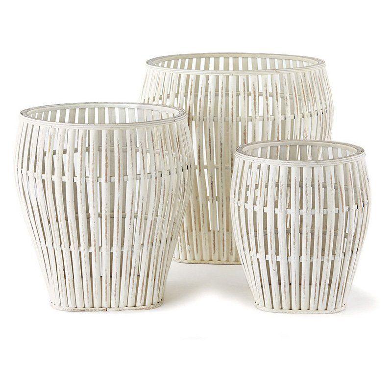 Napa Home And Garden Bamboo 3 Piece Basket Set From Hayneedle Com Basket Sets Bamboo Basket Basket Decoration