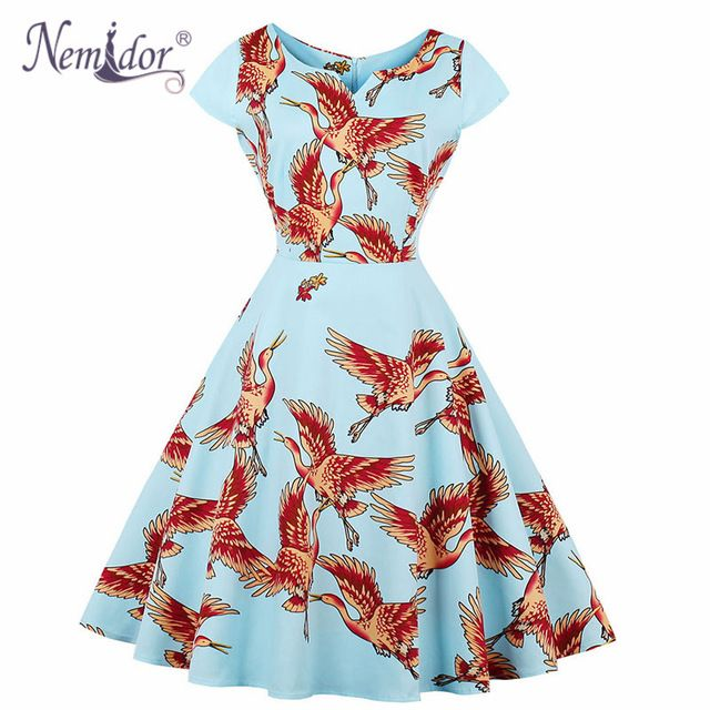 Aliexpress Buy Nemidor Elegant Floral Print 50s Short Sleeve
