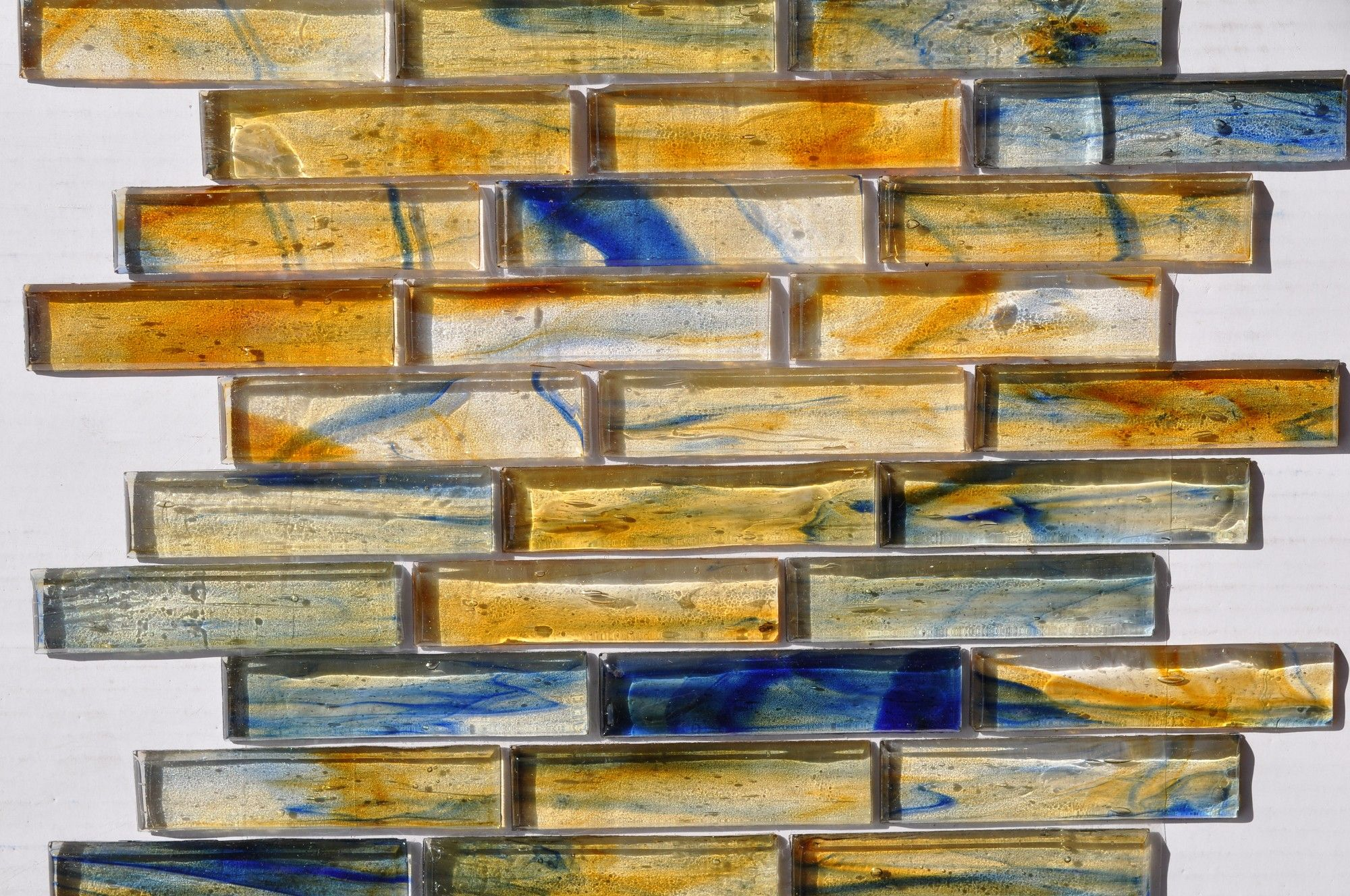 Fusion Glass Gold Blue Grey Linear Strips 10s With Images Pool Tile Decorative Tile Glass Tile