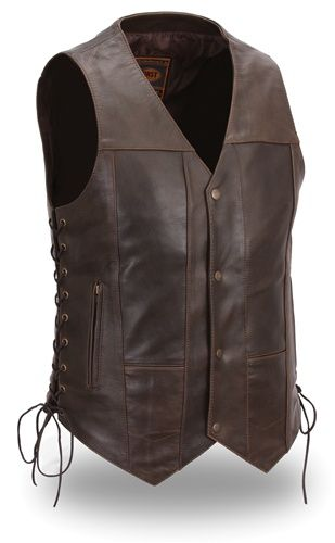 Brown Leather Motorcycle Vests For Men Concealed Carry Leather Vest Leather Mens Leather Vest