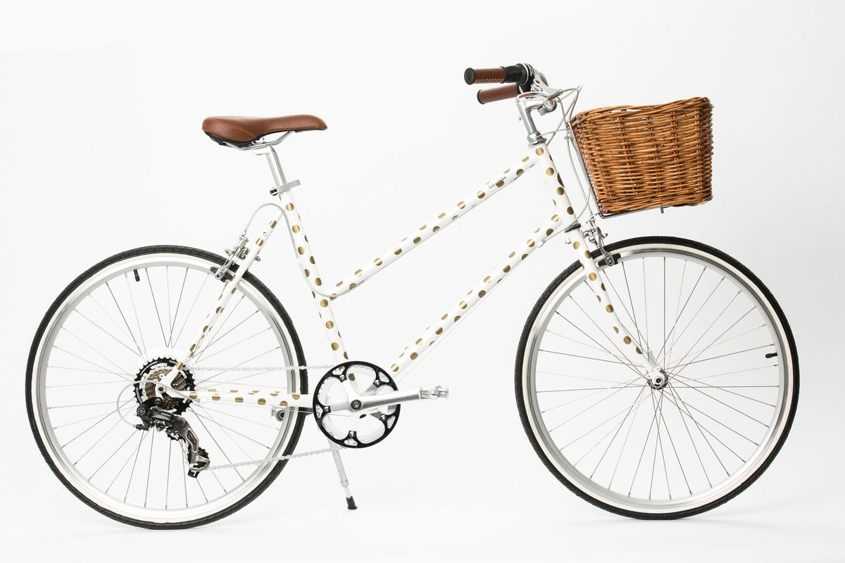 karen walker   gold polka dot bicycle!