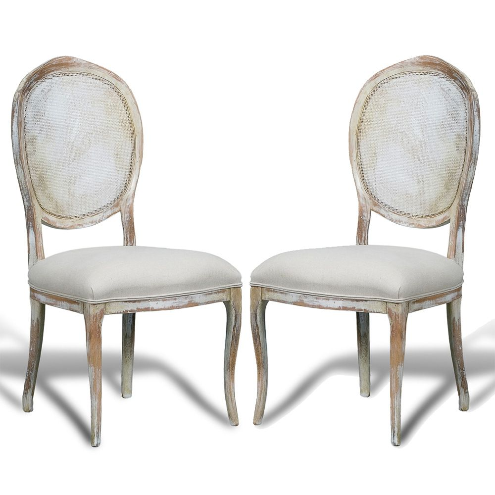 French Country Cane Round Back Chairs Distressed White