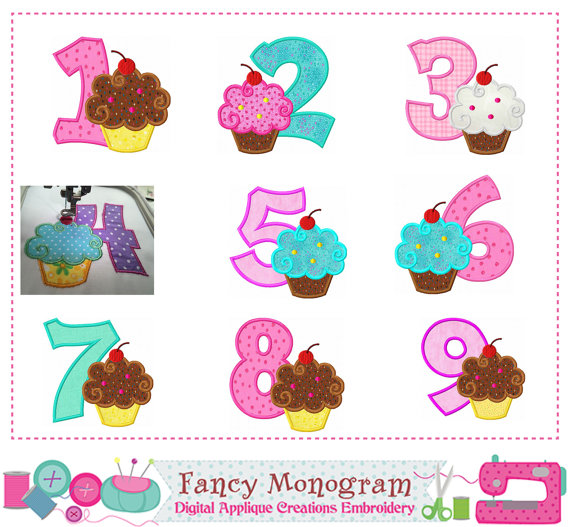 Cherry Cupcake Number 1~9 applique,Birthday Number 1~9 applique,Cherry applique,Birthday number design,Birthday,Cupcake applique-01