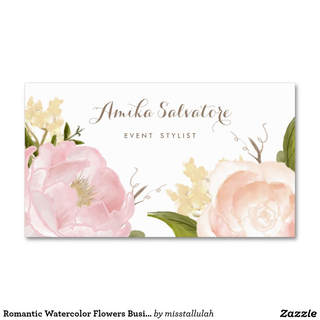 Romantic Watercolor Flowers Business Card | Chic Business Cards for ...