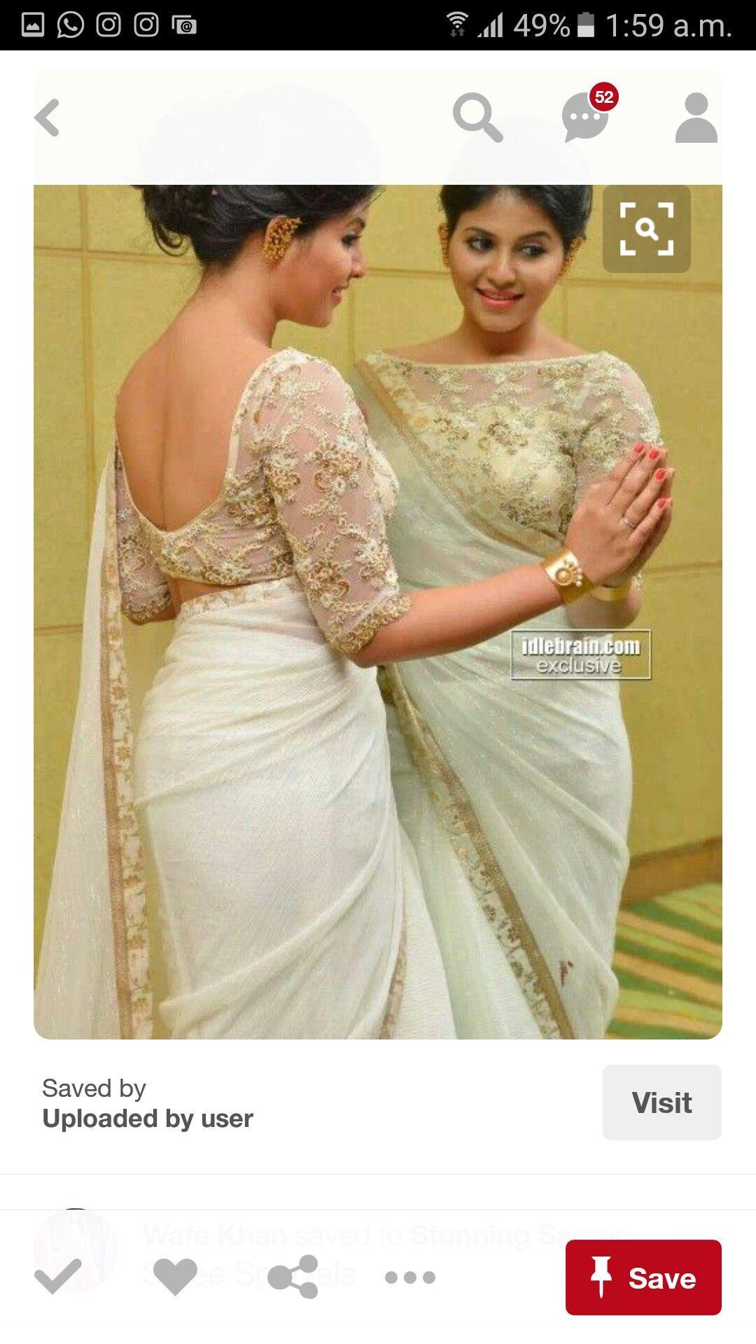 white image by varshavrinda07 | Saree blouse designs ...