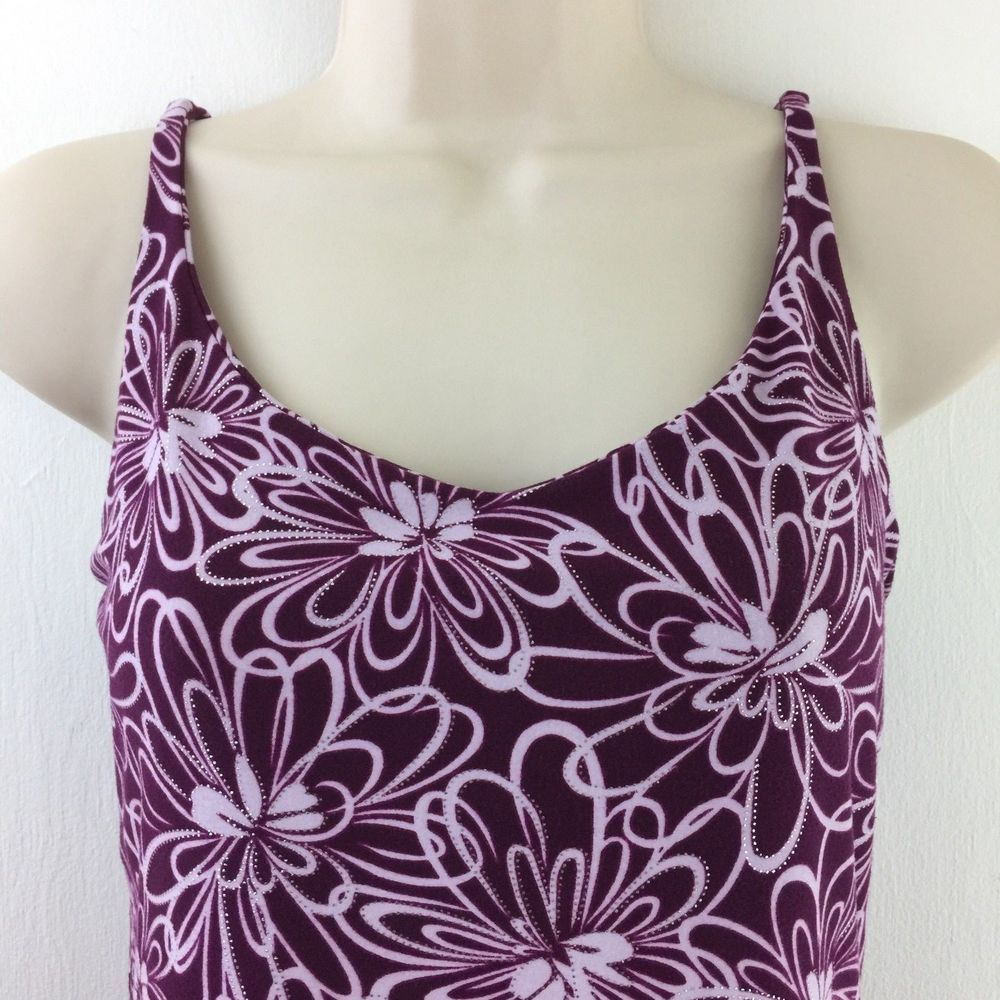 3a239e2809cc7 Lotus Shelf Bra Top Camisole Floral Shimmer Stretch Spaghetti Strap Tank  USA Med  Lotus  TankTop  Casual