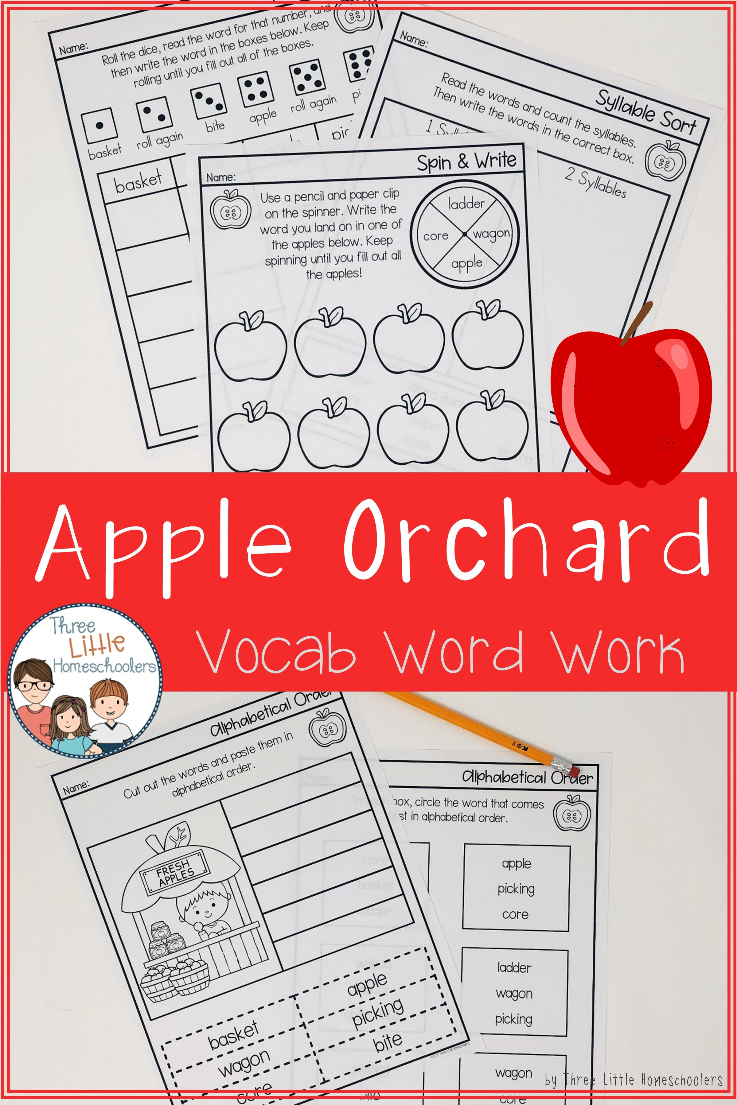 Apple Orchard Vocabulary Spelling Word Work