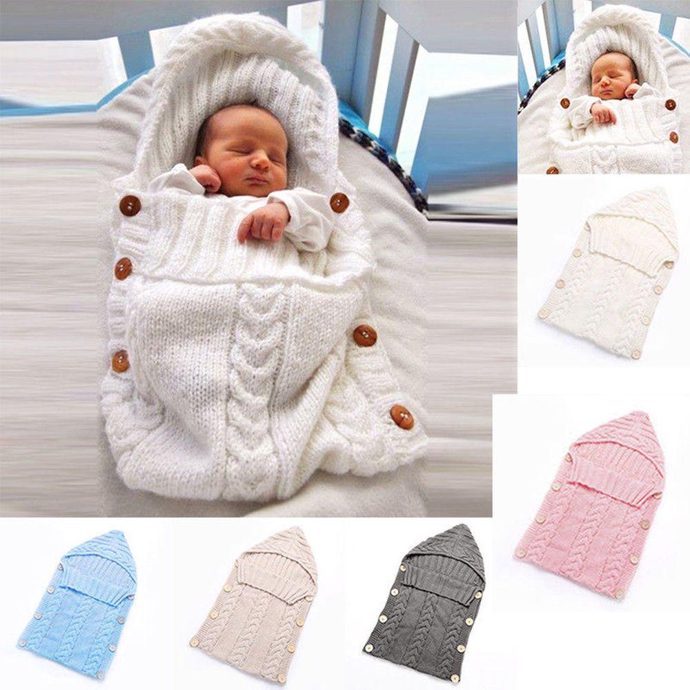 Baby Knit Crochet Swaddle Wrap Swaddling Blanket Warm Sleeping Bag