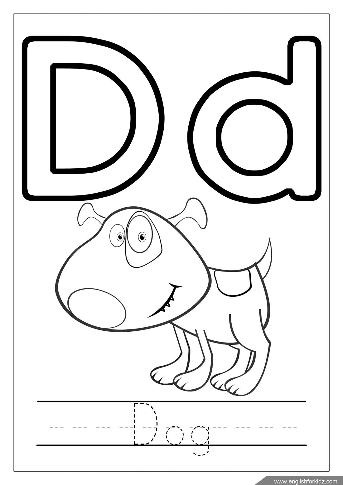 Alphabet coloring page, letter d coloring, d is for dog  Alphabet