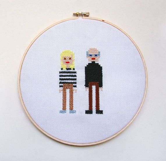 """Custom Made Couple 8"""" round wood cross stitch.  Name, significant date or phrase below."""