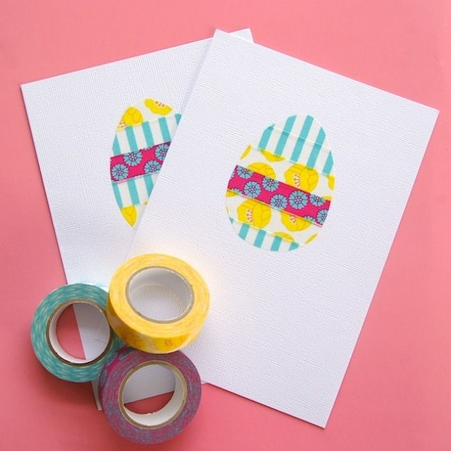farbenfrohe washi tape osterkarten basteln mit kindern ostern ostern osterkarten und. Black Bedroom Furniture Sets. Home Design Ideas