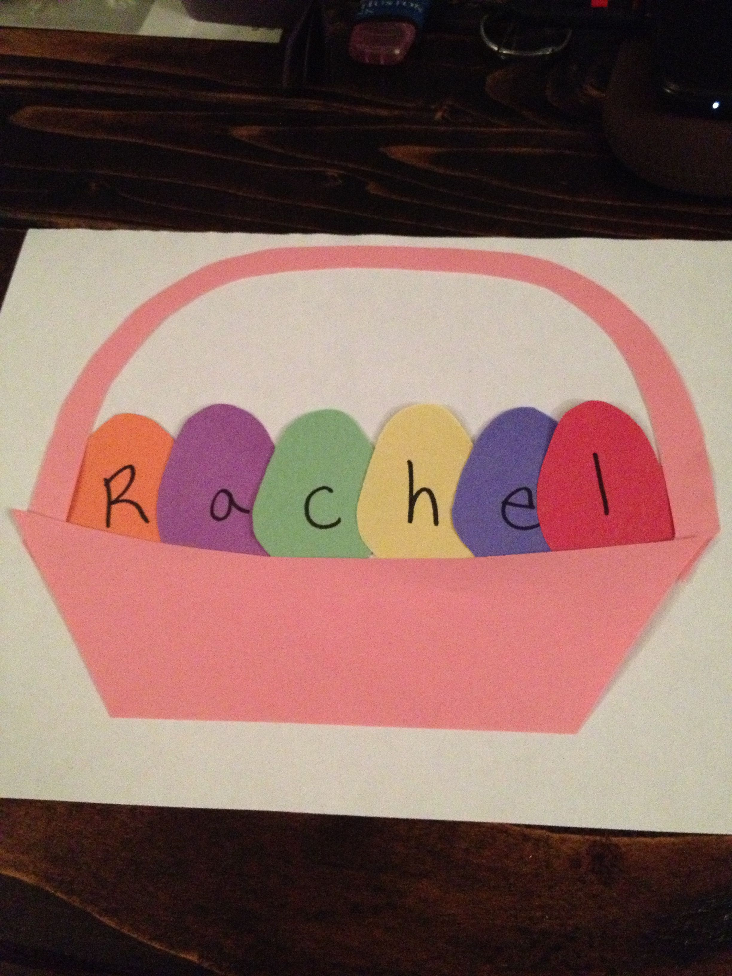 Pre K Name Easter Activity Name Eggs In An Easter Basket