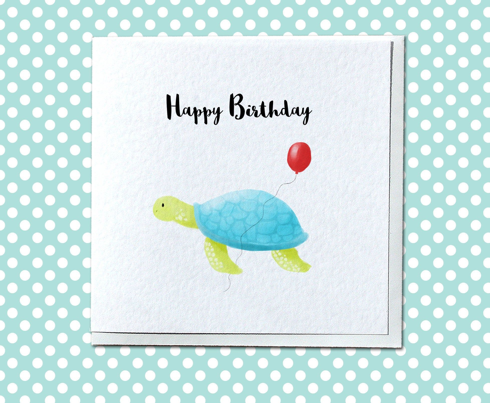 Personalised Turtle Birthday Card Cute Birthday Card Turtle
